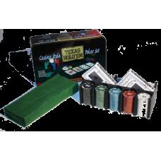 Набор для покера 200 фишек с номиналом в жестяном кейсе