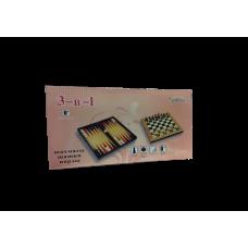 Шахматы, шашки, нарды (подарочный набор 3 в 1 малый)